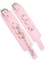 Розовые наручники с регулировкой на цепочке, цвет розовый - Пикантные штучки