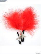 Зажимы для груди с красным пёрышком, регулируемые, P3336R - Penthouse