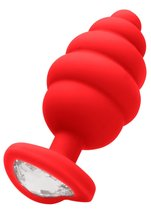 Красная анальная пробка Regular Ribbed Diamond Heart Plug - 7 см., цвет красный - Shots Media