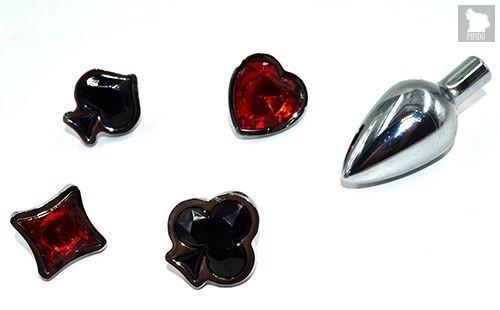Набор из серебристой анальной пробки из нержавеющей стали и 4 кристаллов в форме мастей - 7,6 см., цвет красный/черный - Kanikule