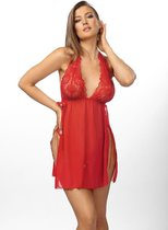 Эффектная полупрозрачная сорочка Belinda с разрезами, цвет красный, 2XL-3XL - Anais