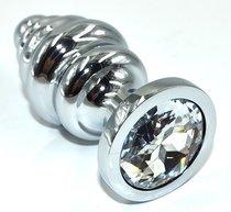 Серебристая анальная пробка из нержавеющей стали с прозрачным кристаллом - 8,8 см., цвет прозрачный - Kanikule