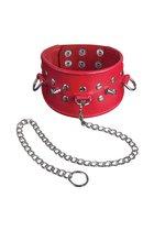 Красный кожаный ошейник с клёпками и шипами - Sitabella (СК-Визит)