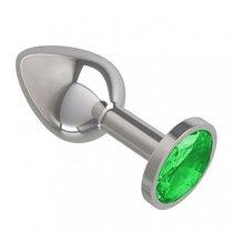 Серебристая анальная пробка с зеленым кристаллом - 7 см, цвет зеленый/серебряный - МиФ