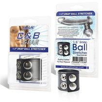 Хомут-утяжка для мошонки из искусственной кожи на клепках SNAP BALL STRETCHER, цвет черный - Blue Line