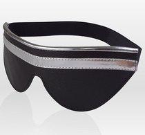 Чёрно-серебристая кожаная маска на резинке, цвет серебряный/черный - Sitabella