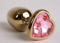 Анальная пробка золото 7,5 х 2,8 см с сердечком розовый страз размер-S 47193-MM - Eroticon