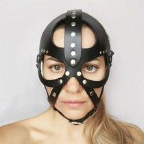 """Кожаная маска-шлем """"Лектор"""", цвет черный - Sitabella"""
