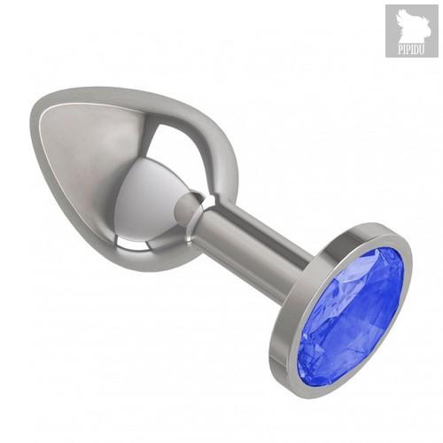 Серебристая анальная пробка с синим кристаллом - 7 см, цвет серебряный/синий - МиФ