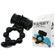 Чёрное эрекционное виброкольцо с щеточкой, цвет черный - Baile