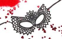 Черная ажурная текстильная маска Виолетта, цвет черный - Bioritm
