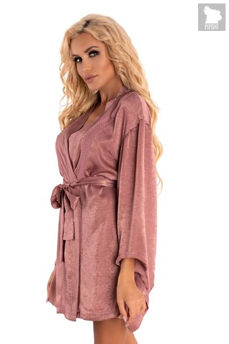 Роскошный пеньюар-кимоно FaomiI с поясочком, цвет розовый, L-XL - Livia Corsetti