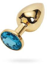 Анальная пробка Metal Gold 2,8 с кристаллом, цвет голубой - Luxurious Tail