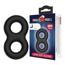 Двойное эластичное эрекционное кольцо Super Soft Silicon, цвет черный - Baile