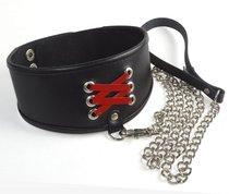 Широкий ошейник с декоративной шнуровкой и поводком, цвет красный/черный - Sitabella