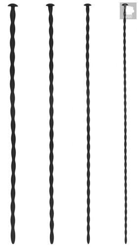 Набор из 4 черных стимуляторов уретры Spiral Screw Plug Set, цвет черный - Shots Media