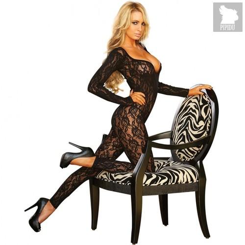 Элегантный ажурный облегающий комбинезон, цвет черный, 42-48 - Hustler Lingerie