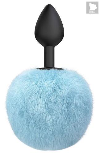Черная анальная пробка с голубым пушистым хвостиком Fluffy, цвет голубой/черный - Lola Toys