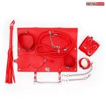 Красный набор БДСМ в сумке: маска, ошейник с поводком, наручники, оковы, плеть, цвет красный - Bioritm