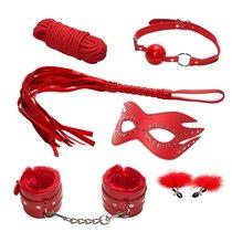 Эротический набор БДСМ из 6 предметов в красном цвете, цвет красный - МиФ