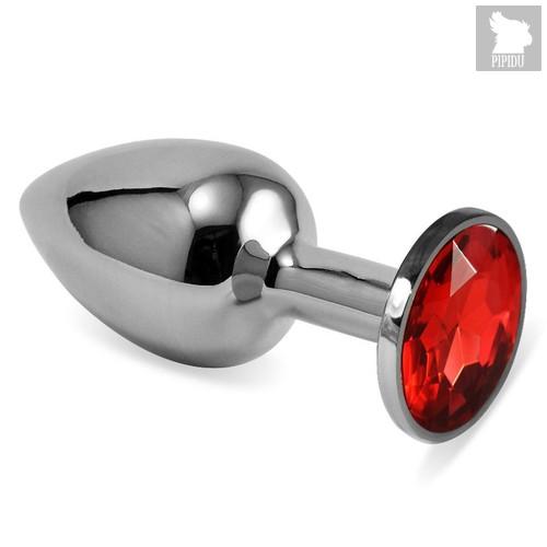 Серебристая анальная пробка с красным кристаллом размера L - 9 см, цвет красный - Vandersex