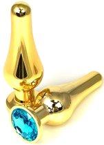 Золотистая удлиненная анальная пробка с голубым кристаллом - 11,5 см., цвет голубой - Vandersex