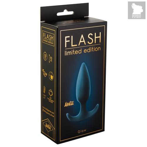 Анальная пробка со смещенным центром тяжести Flash Glow 9012-01Lola, цвет голубой/серый - Lola Toys