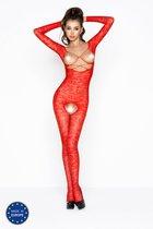 Комбинезон с длинными рукавами, цветочным узором, открытой грудью и доступом, цвет красный, OS - Passion
