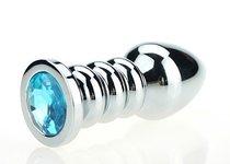 Серебристая фигурная анальная пробка с голубым кристаллом - 10,3 см - 4sexdreaM