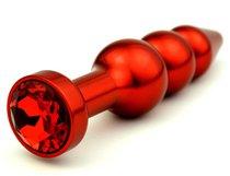 Анальная ёлочка с красным кристаллом - 11,2 см, цвет красный - 4sexdreaM