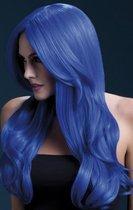 Синий парик с длинной челкой Khloe, цвет синий, S-L - Fever