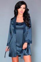 Роскошный ночной комплект Jacqueline: пеньюар, сорочка и трусики-стринги, цвет синий, размер L-XL - Livia Corsetti
