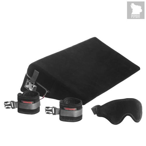 Малая подушка для любви с креплениями и маской Liberator Retail Black Label Wedge из микрофибры, цвет черный - Liberator