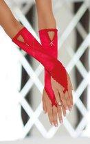 Перчатки-митенки удлиненные, цвет красный, S-M - SoftLine Collection (SLC)