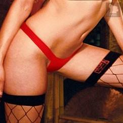 Кожаные танга на широкой резинке, цвет красный, S-M - Hustler Lingerie