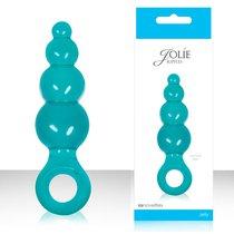 Анальная пробка Jolie - Ripples Blue с кольцом, средняя, цвет голубой - NS Novelties