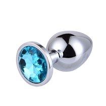 Большая серебристая анальная пробка с голубым кристаллом - 9,5 см, цвет голубой - 4sexdreaM