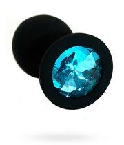 Чёрная силиконовая анальная пробка с голубым кристаллом - 7 см., цвет голубой/черный - Kanikule