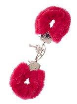 Металлические наручники с красной меховой опушкой METAL HANDCUFF WITH PLUSH RED, цвет красный - Dream toys