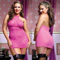 Платье Danielle, с трусиками и подвязками, цвет розовый, XL-3XL - Seven`til Midnight