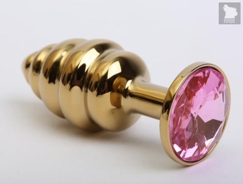 Золотистая ребристая анальная пробка с розовым стразом - 7,3 см - 4sexdreaM