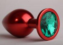 Анальная пробка 8,2 х 3,5см красная с зеленым стразом 47108-1-MM - White Label