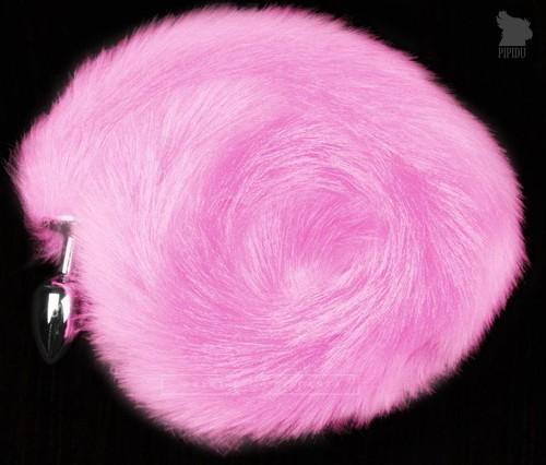 Серебристая анальная пробка с розовым хвостом, цвет розовый - Пикантные штучки