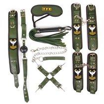 Набор в армейской тематике: наручники, оковы, ошейник с поводком, кляп, маска, плеть, фиксатор, цвет хаки - Bioritm