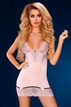Нежно-розовая сорочка Stephanie с красивым декольте, цвет пудра, размер L-XL - Livia Corsetti