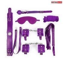 Большой набор БДСМ в фиолетовом цвете: маска, кляп, плётка, ошейник, наручники, оковы, верёвка, цвет фиолетовый - Bioritm