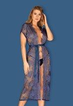 Роскошный кружевной пеньюар Flowlace, цвет синий - Obsessive