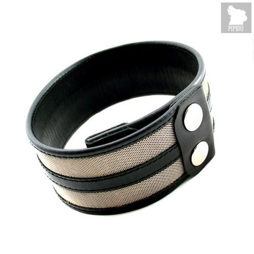 Кожаный браслет на бицепс с декором из стали, цвет черный - Lucom