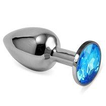 Серебристая анальная пробка с голубым кристаллом размера L - 9 см