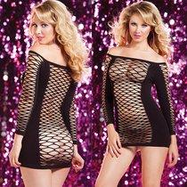 Платье Seamless Long Sleeve, цвет черный, размер S-L - Seven`til Midnight